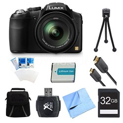 LUMIX DMC-FZ200K Digital Camera 32GB and Battery Bundle
