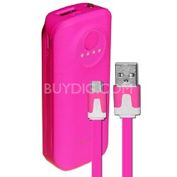 5200mAh Neon Power Battery Bank with USB Charging Cable in Pink