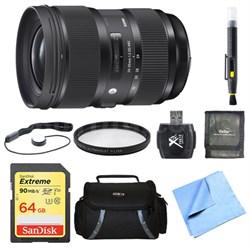 24-35mm F2 DG HSM Standard-Zoom Lens for Nikon 64GB Bundle