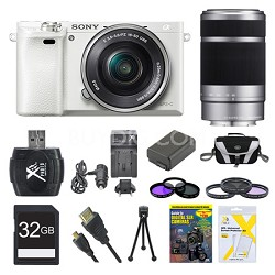 Alpha a6000 White Camera with 16-50mm and Silver SEL 55-210 Lenses 32GB Kit
