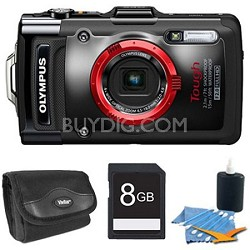 STYLUS TG-2 iHS 12MP 4x Wide/8x SR Zoom HD Digital Camera Black Plus 8 GB Kit