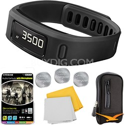Vivofit Fitness Band Bundle with Heart Rate Monitor (Black) Plus Deluxe Bundle