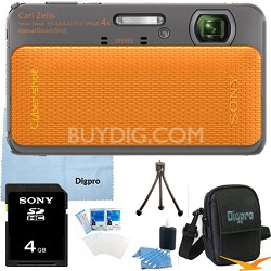 Cyber-shot DSC-TX20 16.2 MP Waterproof Shockproof (Orange) 4GB Bundle