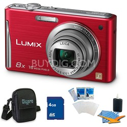 "Lumix DMC-FH27 16MP 8x Zoom Red Digital Camera w/ 3.0"" Touchscreen 4GB Bundle"