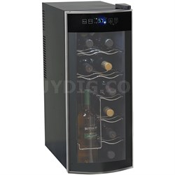 EWC1201 12 Bottle Thermoelectric Counter Top Wine Cooler Fridge (Black/Platinum)