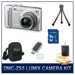 DMC-ZS5S LUMIX 12.1 MP Digital Camera (Silver), 8GB SD Card, and Camera Case
