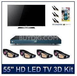 """55LX9500  - 55"""" 1080p 480Hz 3D LED with 4 3D Glasses, 3D Blu Ray and More!"""