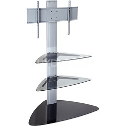 """SmartMount Universal TV Stand (Silver) for 32"""" to 50"""" TVs w/ Two glass shelves"""