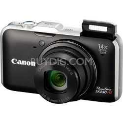 PowerShot SX230 HS 12MP 14x Zoom Black Digital Camera