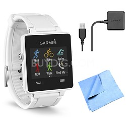 vivoactive GPS Smartwatch - White (010-01297-01) Charging Clip Bundle