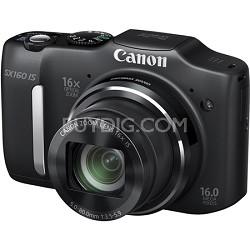 Powershot SX160 IS 16MP 16x Zoom Black Digital Camera w/ 720p HD Video