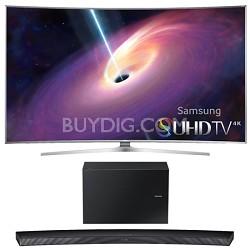 UN65JS9500 - 65-Inch Curved 4K 120hz SUHD 3D LED TV w/ HW-J7500 Soundbar Bundle