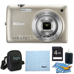 COOLPIX S4300 16MP 3-inch Touch Screen Digital Camera 4GB Silver Bundle