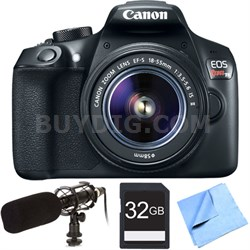 EOS Rebel T6 Digital SLR Camera w/ EF-S 18-55mm Lens Shotgun Microphone Bundle