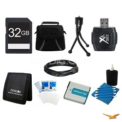 32GB SD Card, Case, Battery, Card Reader, Card Wallet, Mini Tripod, and More