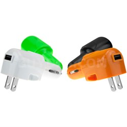 USB AC and DC Car and Wall Charger (Blue)