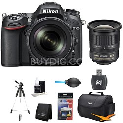 D7100 DX-Format Digital HD-SLR with 18-105mm VR Lens Wide Angle Bundle