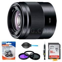 SEL50F18/B - 50mm f/1.8 Mid-Range Prime Lens Essentials Bundle