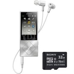 64GB Hi-Res Walkman Digital Music Player - Silver w/ Sony 32GB Memory Card