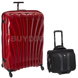 "33"" Black Label Cosmolite Spinner (Red) + Wenger Laptop Boarding Bag"