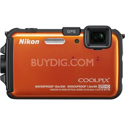 COOLPIX AW100 16MP Waterproof Digital Camera Refurbished (Orange) - 26293B