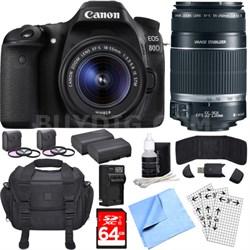 EOS 80D CMOS DSLR Camera w/ EF-S 18-55mm + 55-250mm Telephoto Lens 64GB Bundle