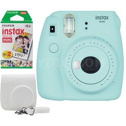 Instax Mini 9 Instant Camera Bundle w/ Case and Film - Ice Blue