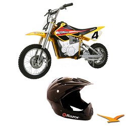 MX650 Dirt Rocket Electric Motocross Bike with Razor Full Face Helmet