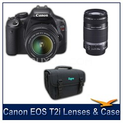 EOS Digital Rebel T2i SLR w/ 18-55mm and 55-250mm Lenses and Case Bundle