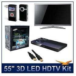"""UN55C8000 - 55"""" 3D 1080p 240Hz LED w/3D Glasses & BluRay Player & Flip Camcorder"""