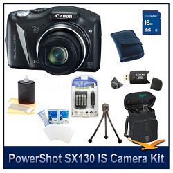 Powershot SX130 IS Camera 16GB Bundle w/ Reader, Case, Batteries, and more