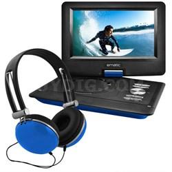 "10"" Portable Swivel Screen DVD Player w/ Headphones, Car Mount - Blue"
