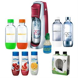 Fountain Jet Soda Maker Bundle with 6 Bottles, 3 Flavors, and Starter CO2 (Red)
