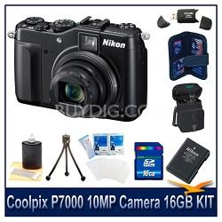 Coolpix P7000 10MP Camera 16GB Bundle w/ Case, Battery, Reader, Tripod & More