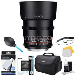 DS 85mm T1.5 Full Frame Cine Lens for Nikon Mount Accessory Bundle