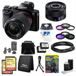 Alpha 7K a7K Digital Camera, 35mm Lens, 2 64 GB SDHC Cards, 2 Batteries Bundle
