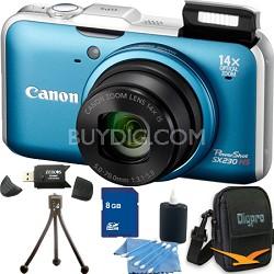 PowerShot SX230 HS Blue Digital Camera 8GB Bundle