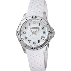 Ladies' Squadron Analog Watch - White Dial/White Silicone Rubber Strap