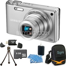PL210 Superzoom 14MP Compact Silver Digital Camera 8 GB Bundle