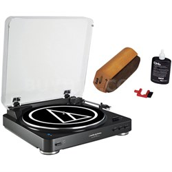 Wireless Belt-Drive Stereo Turntable w/ RCA D4+ Vinyl Record Cleaner, Black