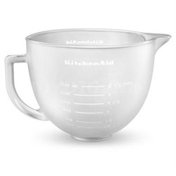 5-Quart Tilt-Head Frosted Glass Bowl with Measurement Markings and Lid - K5GBF