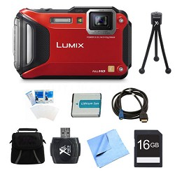 LUMIX DMC-TS6 WiFi Tough Red Digital Camera 16GB Bundle