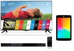 """LG 49UB8200 49"""" 4K LED HDTV + LG G Pad + Sound Bar"""