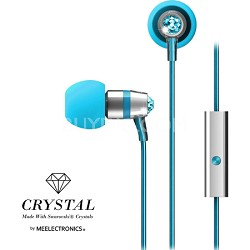 Crystal In-Ear Headphones w/ Microphone Made with Swarovski Crystals - Turquoise