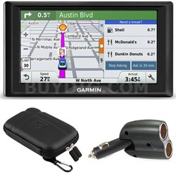 Drive 50LM GPS Navigator (US and Canada) 010-01532-07 Case + Car Charger Bundle