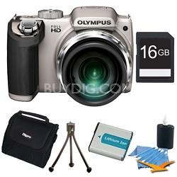 SP-720UZ 14MP 26x Opt Zoom 3-Inch LCD Digital Camera Silver Plus 16GB Memory Kit