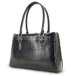 "MEMC1L Milano handbag large faux-croc black computer case for Laptops up to 17"""