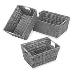 Rattique Basket Set of 3 Gray