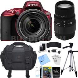 D5500 Red DX-format DSLR Camera w/ AF-S NIKKOR 18-140mm ED VR Lens Bundle