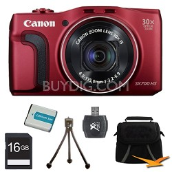 PowerShot SX700 HS 16.1MP HD 1080p Digital Camera Red 16GB Kit